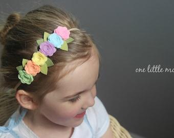 Felt Rose Crown on Nylon Headband - Cotton Candy, Baby Blue, Wisteria, Buttercup, Peach, Pistachio - Newborn Photography Prop