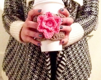 Handmade Crocheted Coffee, Tea, Hot Chocolate, and Warm Drink Coozie with Cute Flower