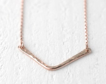 Rose Gold Filled Chevron Necklace, Modern Minimal Necklace, Gift for Women, Jewelry Gift for Her by Burnish