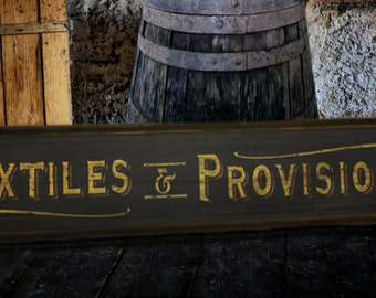 Rustic Textiles and Provisions Wood Sign with frame - Hand Crafted Antique Wooden Decor