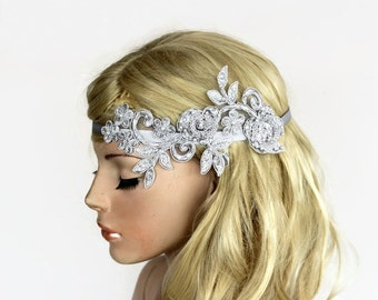 Lace Bridal Headband, Metallic Gray Wedding Hair Fascinator, Floral Lacy, Rustic Romantic Modern Wedding Tulle Applique