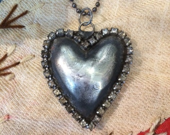 Soldered copper heart with rhinestones