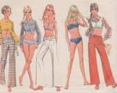 """1960's Women's Mid-riff Top Bell Bottom Pants and Bikini Swimsuit Bathing Suit Sewing Pattern Size 8 Bust 31.5"""" McCall's 9704"""