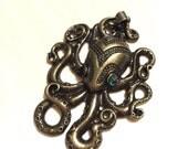 Cthulhu Octopus Kraken keychain charm or pendant. Brass with green gem eyes.
