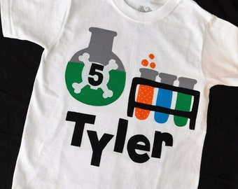 Mad scientist birthday SHIRT with bubbling test tubes and flasks with crossbones personalized with name and birthday number applique NB - 16
