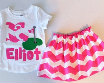 2 piece - Hot pink white chevron skirt with coordinating personalized name birthday number golf appliqued shirt girl, baby, toddler, tween
