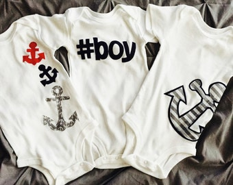 New baby gift, first birthday gift or everyday shirt for baby and boy nautical anchor or #boy onesie applique 3m 6m 12m 18m 24m or 2T - 16
