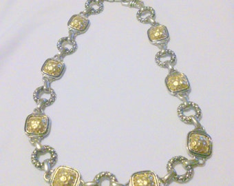 Vintage Silver Tone and Hammered Gold Tone Chunky Link Necklace