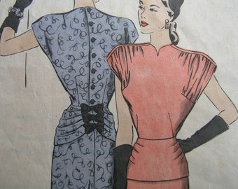 Fabulous Vintage 40's DIRECT FROM HOLLYWOOD Misses Hollywood Dress Pattern Factory Folded