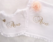 Baptism Bib and Burp Cloth Personalized  or Monogrammed White Ruffled Bib New Baby Gift Baptism Christening Gift Baby Dedication
