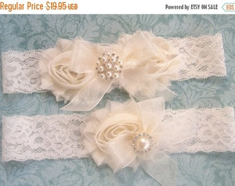 FALL SALE Wedding Garter- Wedding Garter Set- Toss Garter included  Ivory with Rhinestones and Pearls  Custom Wedding colors