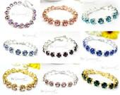 Swarovski Crystal Bracelet Bridal Bracelet Wedding Bracelet Bridesmaid Gift Bride Bracelet Choose Your Color Wedding Jewelry Tennis Bracelet