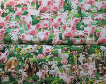 Pigs Farm Animals Flowers Cotton Fabric - Choose Your Cut