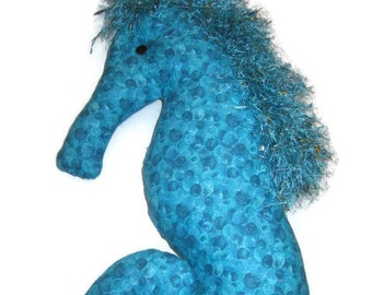 Seahorse Pillow Aqua Blue Bubble Print  Beach Decor