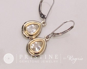 Pear Shape White Sapphire Dangle Earrings in Yellow Gold and White Gold