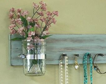 Jewelry Key Holder Sale Wall Hanging Vintage Pale Jade Antiqued Jewelry Holder Rack Organizer Wall Vase Jar Earrings Necklace Key Rack