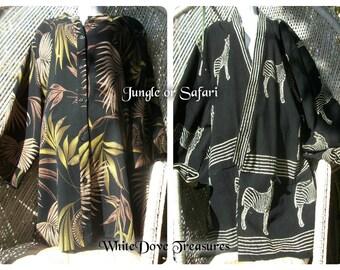 TROPICAL KIMONO or JUNGLE Blouse - Safari Jacket, Zebra Jacket, Tribal Batik Clothing African Ethnic Black Kimono  XXXLarge Summer Fashion