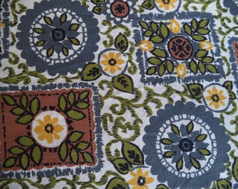 Flower and leaves fabric/ vintage country style printed fabric/ cotton fabric brown olive blue-grey mustard