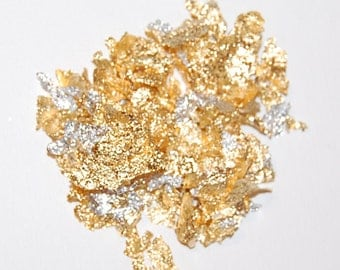 Gold and Silver Leaf Flakes Mix, Nail Art, Resin Supplies, Art Glitter