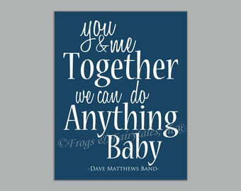 You And Me Together Dave Matthews Band Navy Paper Print