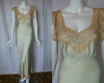1940s Fischer Moss Green Silk Nightgown, Small, Medium, Bias Cut