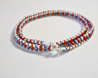 Bracelet, Hand Beaded,  Handmade, Red, White, Blue, Americana Colors, Red and Blue Super Duos, white Seed Beds, Double Wrap, Magnetic clasp