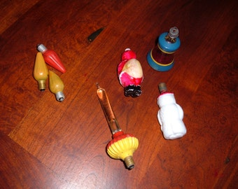 7 Vintage Christmas Light Bulbs and Ornaments-Collectibles only