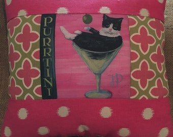 Purrtini cat in martini glass pillow