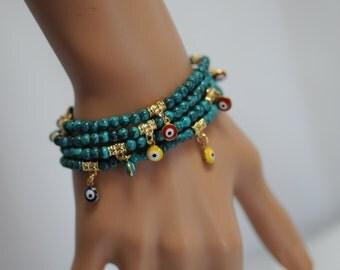 Evil Eye, Dangle Evil Eye Bracelet, Turquoise Evil Eye, Stretch Evil Eye Bracelet, Gift for her, Good luck charm