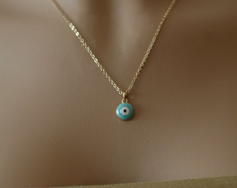 Evil Eye, Light Blue enamel and gold Evil Eye Necklace Charm, Turquoise and White evil eye, Gift for her, Holiday Gift, Good luck charm