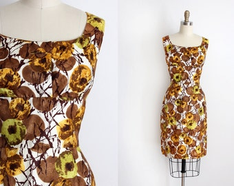 vintage 1950s dress // 50s brown wiggle dress