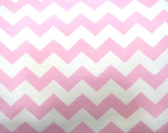 Flannel Fabric by the Yard in a Pink on White Chevron Print 1 Yard