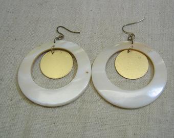 Huge White Mother of Pearl Hoop Pierced Earrings