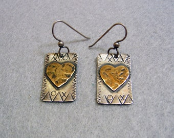 Sterling Silver Rustic Heart Pierced Earrings, Silver and Gold, Comstock Silver