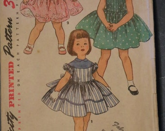 Vintage Dress Pattern Girls Size 6 Full Skirt One Piece 1220 Simplicity Short Sleeve Sleeveless