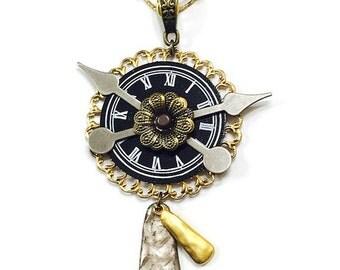 Steampunk Clock Pendant, Filigree Necklace, Steampunk, Statement Necklace