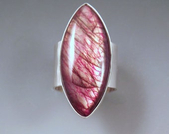 Red Labradorite- Hammered Sterling Silver -One of a Kind- Silver Statement Labradoritre Ring