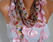 Pink Floral Cotton Scarf Teacher Gift Necklace Cowl Gift Ideas For Her Women's Fashion Women Scarves Mother's Day Gift