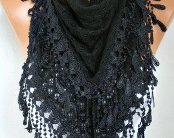 Black Knitted Lace Scarf,Fall Winter Scarf,Wedding Shawl,Bridal Scarf,Bridesmaid Gift,Gift Ideas For Her,Women Fashion Accessories