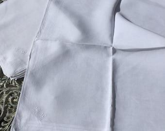 4 large French antique linen handkerchiefs
