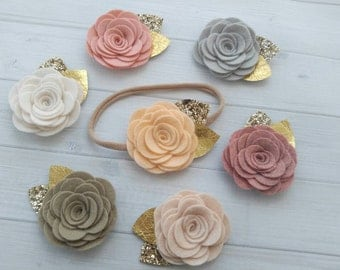 Large Wool Felt Rose Headbandb with Gold Leather and Glitter Leaves - One size fits all nylon headband- You Pick Color