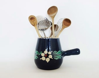 Vintage German Folk Art Pottery Jug with Handle Blue with Polka Dots and Flowers Kitchen Utensils Storage