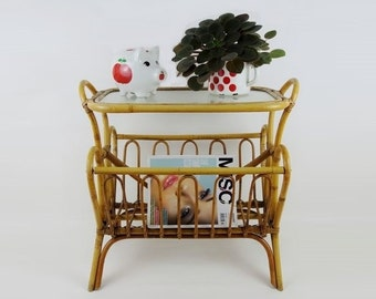 Mid Century Rattan Side Table with Magazines Rack Holder Bohemian Retro