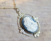 Cameo Necklace - Silver Cameo Necklace  - 10 Cameo Styles - You Pick - Madonna & Child - Flower Cameo - Butterfly Cameo - Mary Cameo