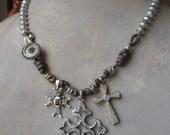 Diamond Cross freshwater pearl necklace - Boho Treasury 'Diamond Trio' - Diamonds garnet vintage gold sterling silver OOAK by slashKnots