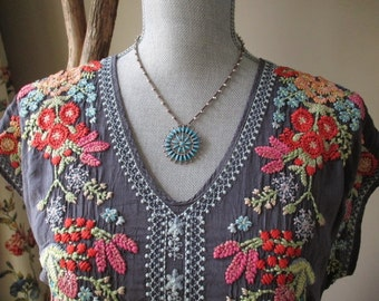 Turquoise crochet fine silver necklace - FallBurst - vintage artisan sterling Zuni turquoise southwest boho by slashKnots