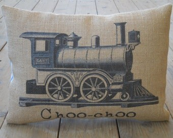 Choo-choo Train Burlap Pillow, Navy pillow, locomotive, Nursery, INSERT INCLUDED