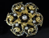 Incredible Old European Cut Diamond Enamel Pearl 14k Gold Brooch FOB Victorian