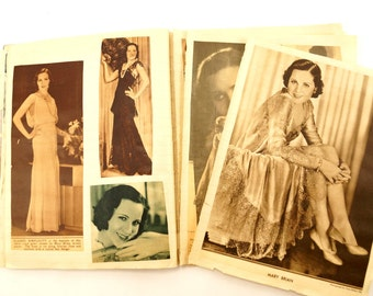 Vintage Scrapbook Notebook with Movie Star Photo Clippings (c.1920-30s) - Collectible Hollywood Movie Star Scrapbook