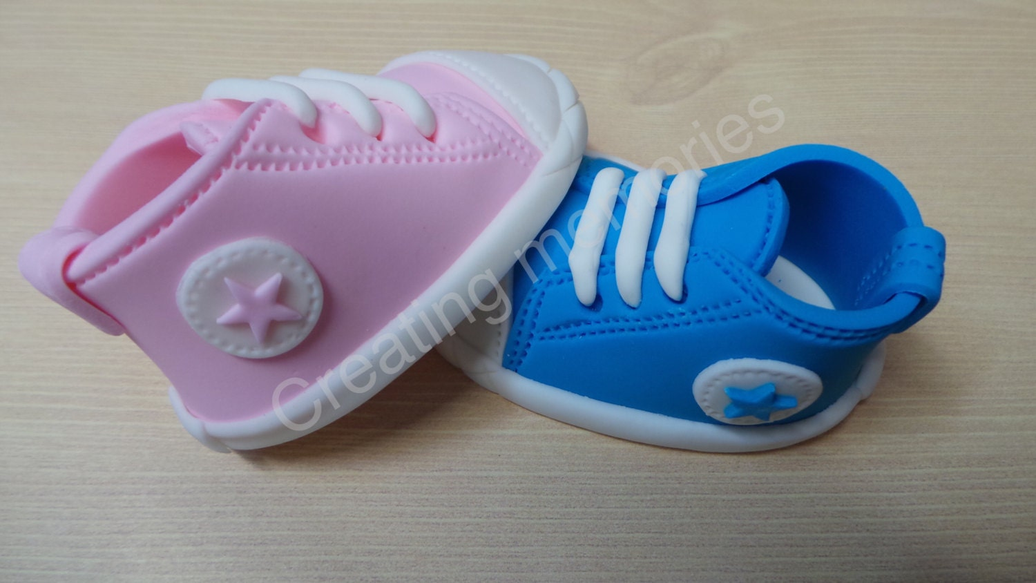 Gender Reveal Baby Shoes Cake Topper Made Of Vanilla Fondant